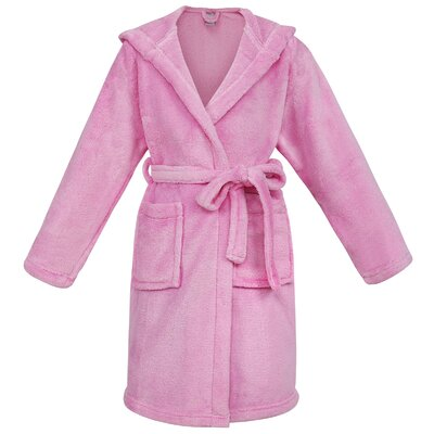 Gibson Hooded Plush Velvet Bathrobe Size: Medium, Color: Pink