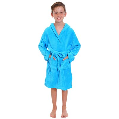 Geurie Childrens Hooded Plush Velvet Bathrobe Size: Large, Color: Blue