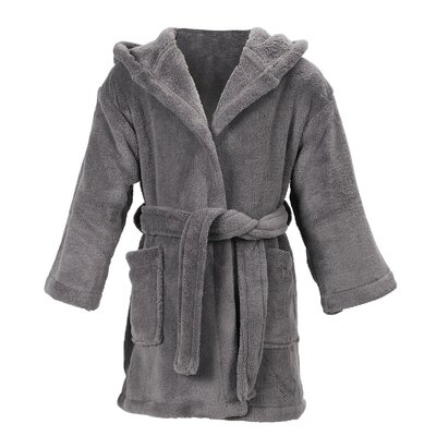 Geurie Childrens Hooded Plush Velvet Bathrobe Size: Medium, Color: Gray