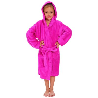 Geurie Childrens Hooded Plush Velvet Bathrobe Size: Large, Color: Fuchsia