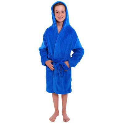 Geurie Childrens Hooded Plush Velvet Bathrobe Size: Medium, Color: Royal Blue