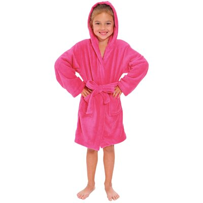 Geurie Childrens Hooded Plush Velvet Bathrobe Size: Medium, Color: Rose