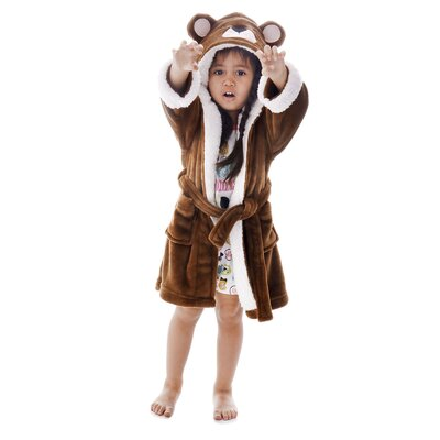 Giambrone Zoo Crew Fuzzy Hooded Animal Solid Bathrobe Size: Small