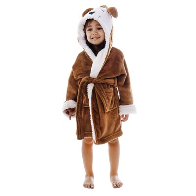 Giambrone Zoo Crew Fuzzy Hooded Animal Solid Rectangle Bathrobe Size: Small