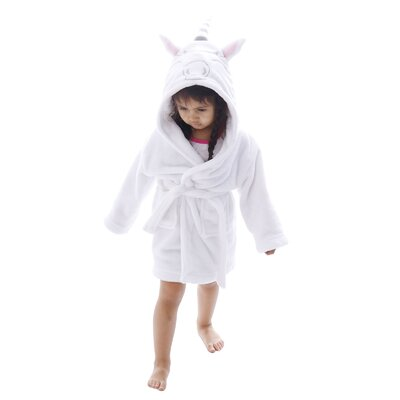 Giambrone Kid Animal Adventures Hooded Terry Bathrobe Size: Medium, Color: White