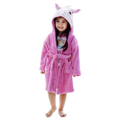 Giambrone Kid Animal Adventures Hooded Terry Bathrobe Size: Small, Color: Pink