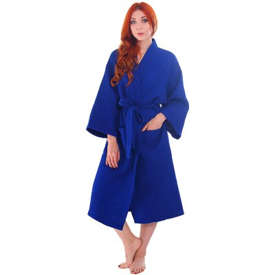 Francena Unisex Light Waffle Weave Pocketed Spa Bathrobe Color: Cobalt Blue