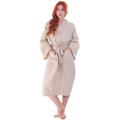 Francena Unisex Light Waffle Weave Pocketed Spa Bathrobe Color: Latte