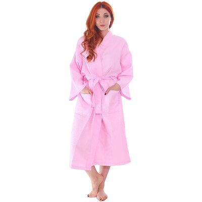 Francena Unisex Light Waffle Weave Pocketed Spa Bathrobe Color: Pink