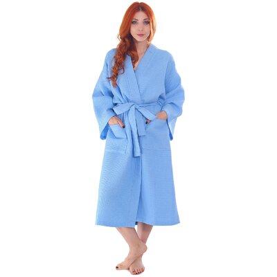 Francena Unisex Light Waffle Weave Pocketed Spa Bathrobe Color: Sky Blue