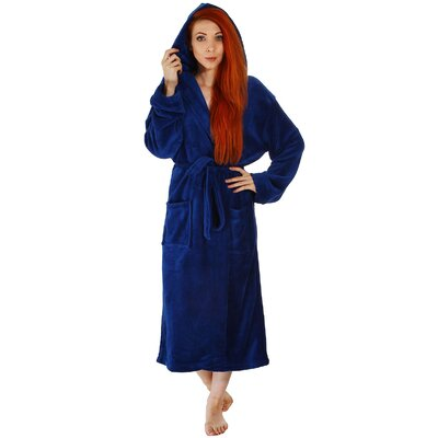 Garbo Hotel Fleece Terry Pocketed Bathrobe Color: Navy Blue