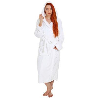 Garbo Hotel Fleece Terry Pocketed Bathrobe Color: White