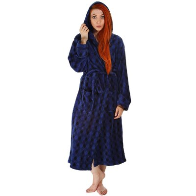 Garon Hotel Fleece Terry Pocketed Bathrobe Color: Blue/Black