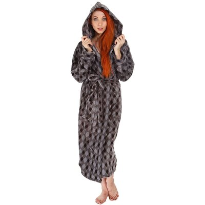 Garon Hotel Fleece Terry Pocketed Bathrobe Color: Gray/Black