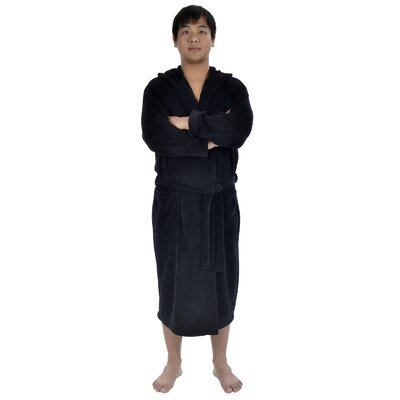 Garbo Hotel Fleece Terry Pocketed Bathrobe Color: Black