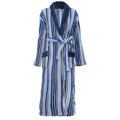 Galvin Micro Fleece Contrast Collar Bathrobe Color: Blue/White