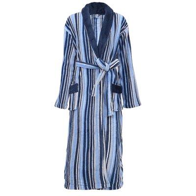 Galvin Micro Fleece Contrast Collar Bathrobe Color: Blue/White