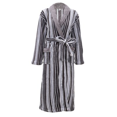 Galvin Micro Fleece Contrast Collar Bathrobe Color: Gray