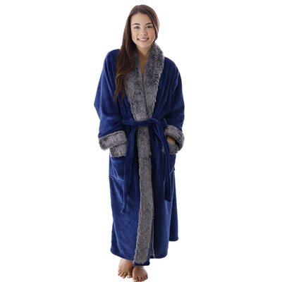 Frederic Luxury Trim Velvet Fleece Pocketed Bathrobe Color: Blue
