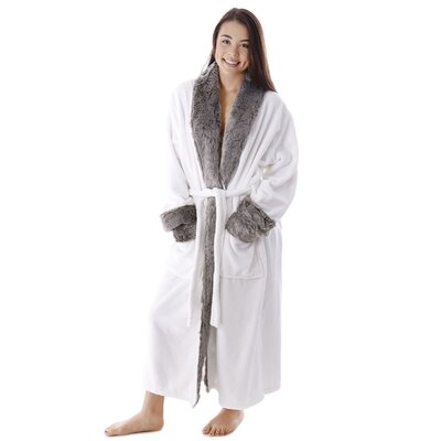 Frederic Luxury Trim Velvet Fleece Pocketed Bathrobe Color: Ivory