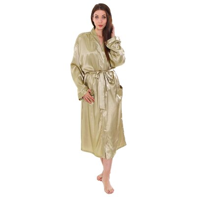 Gace Unisex Long Satin Kimono Style Spa Bathrobe Color: Latte