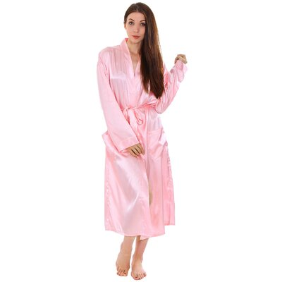 Gace Unisex Long Satin Kimono Style Spa Bathrobe Color: Pink