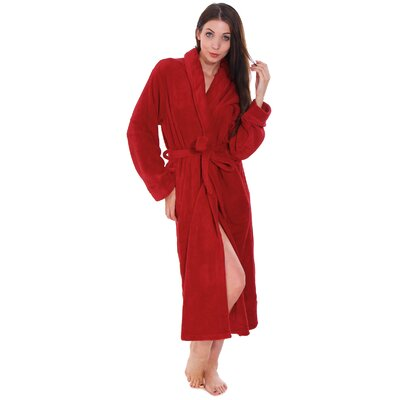 Gala Unisex Spa Fleece Terry Pocketed Bathrobe Color: Red