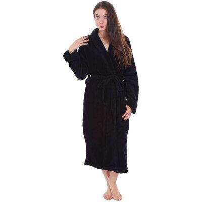 Gala Unisex Spa Fleece Terry Pocketed Bathrobe Color: Black