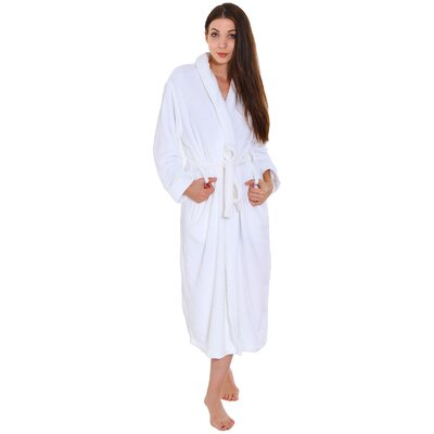 Gala Unisex Spa Fleece Terry Pocketed Bathrobe Color: White