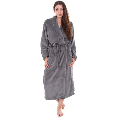 Gala Unisex Spa Fleece Terry Pocketed Bathrobe Color: Gray