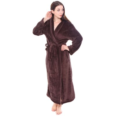 Gala Unisex Spa Fleece Terry Pocketed Bathrobe Color: Brown