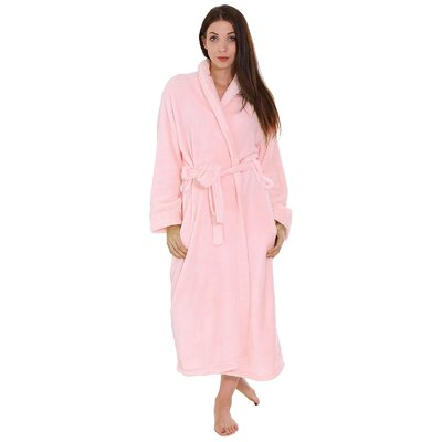 Gala Unisex Spa Fleece Terry Pocketed Bathrobe Color: Pink