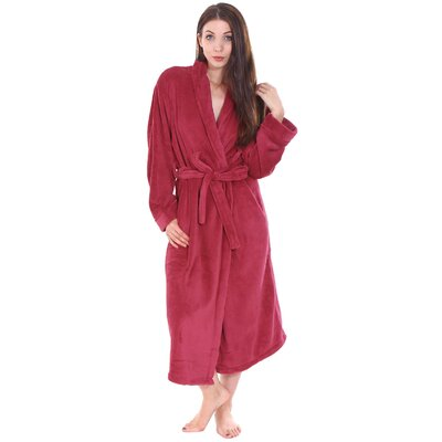 Gala Unisex Spa Fleece Terry Pocketed Bathrobe Color: Wine