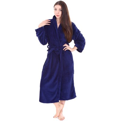 Gala Unisex Spa Fleece Terry Pocketed Bathrobe Color: Cobalt Blue