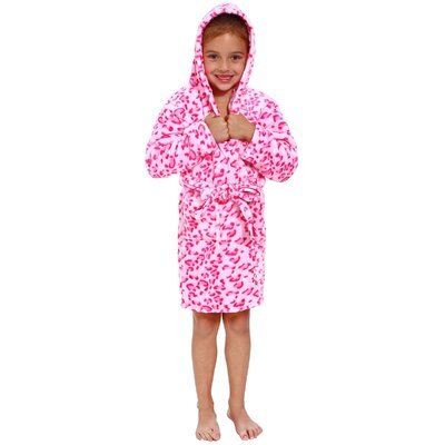Geurie Childrens Hooded Animal Print Plush Velvet Bathrobe Color: Pink