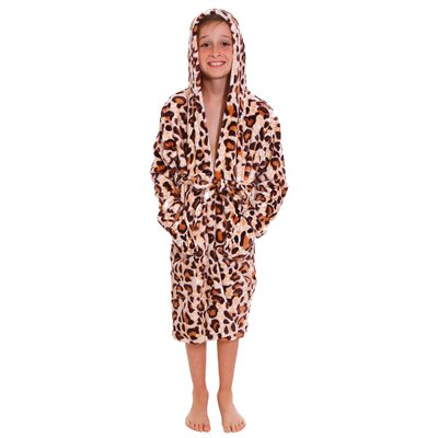 Geurie Childrens Hooded Animal Print Plush Velvet Bathrobe Color: Begie