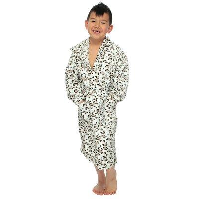 Geurie Childrens Hooded Animal Print Plush Velvet Bathrobe Color: White