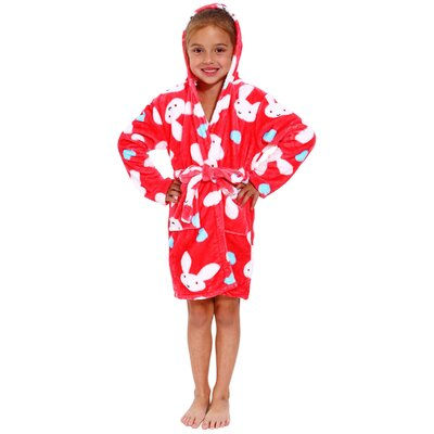 Geurie Childrens Hooded Plush Velvet Bunny Print Bathrobe Size: Small