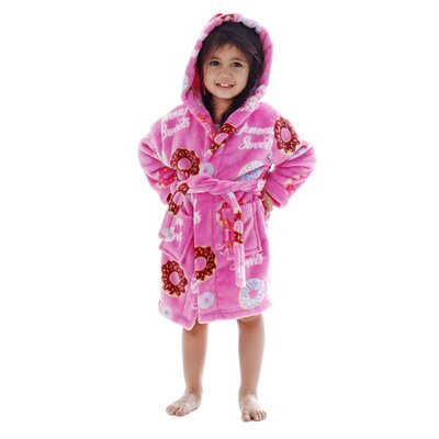 Bashford Printed Flannel Fleece Bathrobe Size: Medium