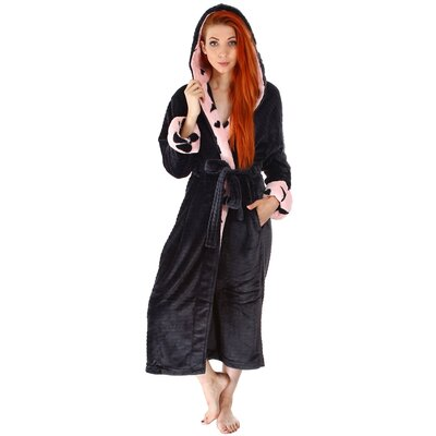 Keven Heart Print Velvet Plush Fleece Bathrobe Color: Black
