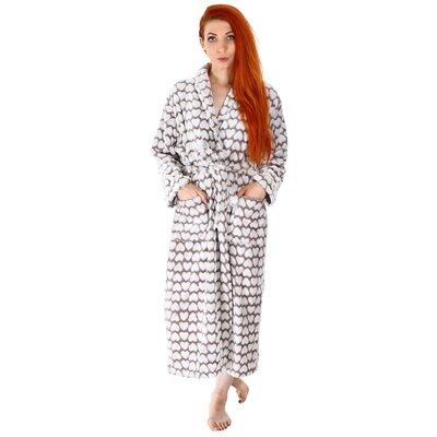 Carlissa Heart Print Velvet Plush Fleece Bathrobe Color: Mocha/Gray