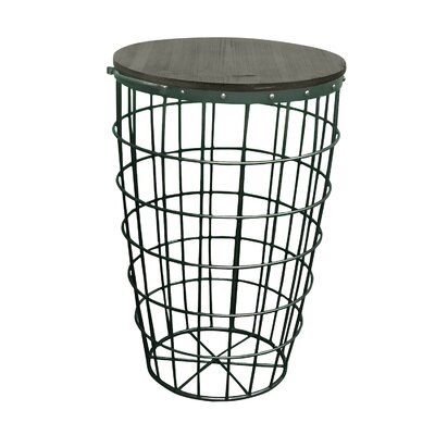 Pflugerville Mini Basket Wood Top End Table