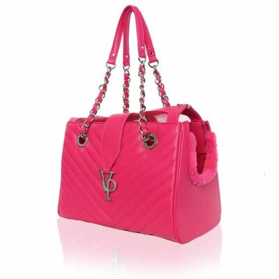 Monogrammed Chain Pet Carrier Color: Pink