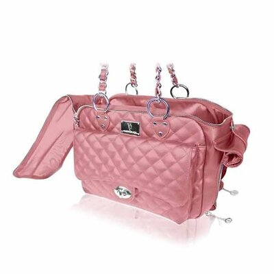 Classic Quilted Luxury Pet Carrier Color: Pink