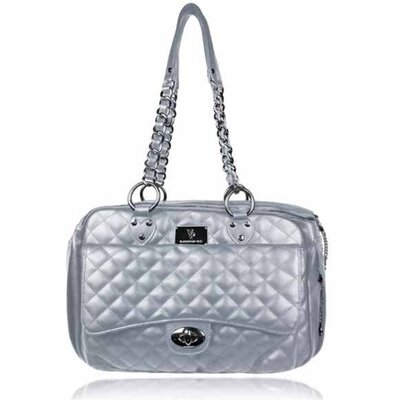 Classic Quilted Luxury Pet Carrier Color: Silver