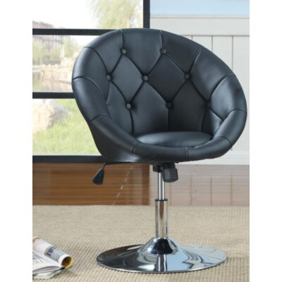 Warnell Swivel Barrel Chair Upholstery : Black