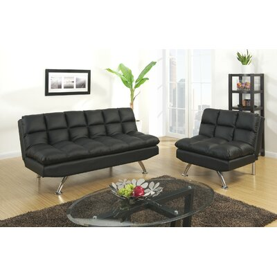 Rohde 2 Piece Living Room Set Upholstery : Black