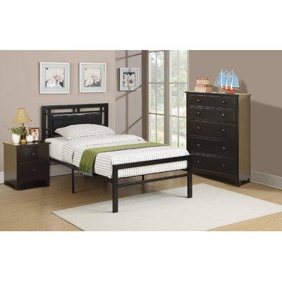 Hawkes Platform Bed Size: Twin, Bed Frame Color: Black