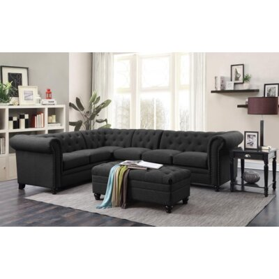 Claudelle 3 Piece Living Room Set Upholstery: Black