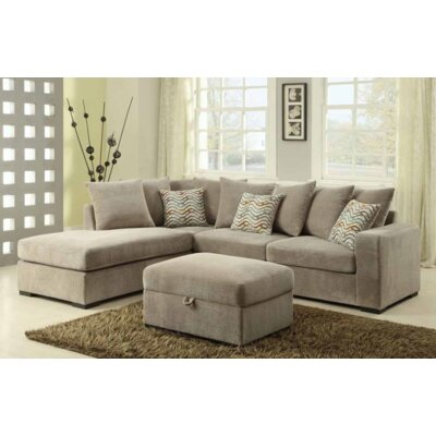Bueno Reversible Sectional with Ottoman Upholstery: Taupe